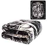 JPI Plush Throw Blanket - La Reina - Queen Bed 79'x 95' - Faux Fur Blanket for Beds, Sofa, Couch, Picnic, Camping
