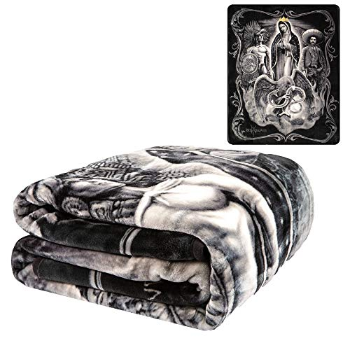 """JPI Plush Throw Blanket - La Reina - Queen Bed 79""""x 95"""" - Faux Fur Blanket for Beds, Sofa, Couch, Picnic, Camping"""