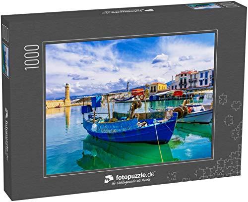 fotopuzzle.de Puzzle 1000 Teile Bunte Griechenland-Serie - Rethymnon mit altem Leuchtturm und Fischerbooten, Insel Kreta