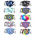 10pcs Reusable Washable Face Bandanas For Kids, Cute Pattern, Adjustable Earloop, Breathable