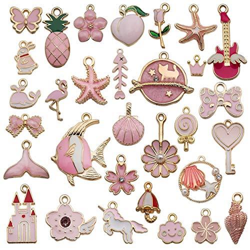 MJARTORIA Colgante de aleación esmaltada, para manualidades, para pulseras, pendientes, collares, llaveros, estilos mixtos, fabricación artesanal (rosa)