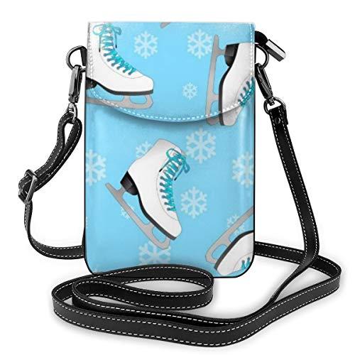 Goxegag Multifunktionale Leder Telefon Geldbörse, Leichte Kleine Schulter Umhängetasche Reisetasche Mit Verstellbarem Gurt Für Frauen-Eiskunstlauf-Schlittschuhe