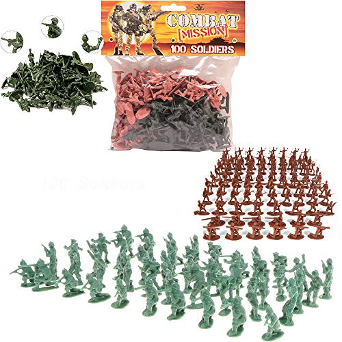100 Piece World War II Plastic Toy Soldiers Traditional Green and Brown Army Men Soldier Figures with Battlefield Weapon Accessories Kids Military War Games Action Figures Combat Force Model Playset