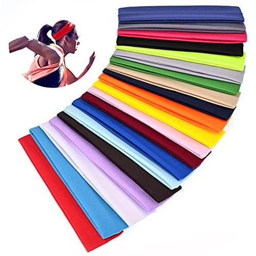 Showgeous 20 pezzi fasce sportive per le donne fasce yoga in cotone fasce elastiche elastiche per capelli fasce fitness colori misti fascia per balletto per sport pilates fitness corsa ciclismo