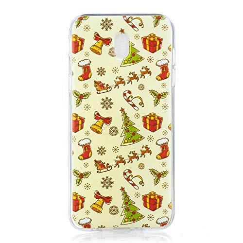 Mosoris Natale Cover Per Samsung Galaxy J7 2017, Custodia Samsung Galaxy J730, Cover Custodia Nuovo Trasparente Ultra Sottile Natalizia Decorazione Morbido TPU Silicone Bumper