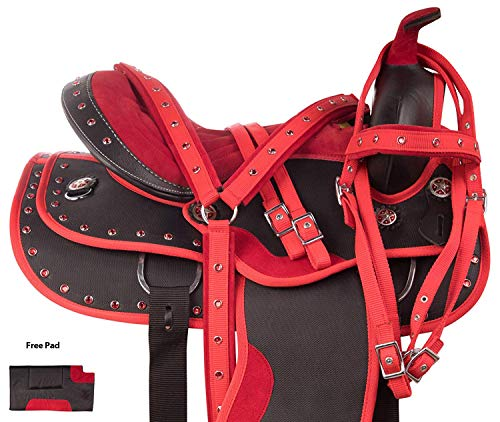 Manaal Enterprises Synthetic Western Adult Horse Saddle Tack Barrel Racing, Get Matching Headstall, Breast Collar Size 14