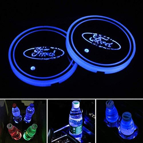 Cool Design LED Auto Wasserdicht Untersetzer, 7 Farben USB Lade Becherhalter, Innendekoration Auto Atmosphäre Licht für Getränk Untersetzer Zubehör, 2pcs (Fo-rd)
