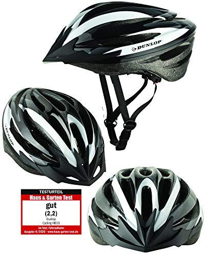 Fahrradhelm Dunlop HB13 für Damen, Herren, Kinder, EPS Innenschale, Abnehmbares Visier für optimalen Blendschutz, Leichter MTB City Bike Helm, besonders Luftig (S (53-55cm), Weiß)