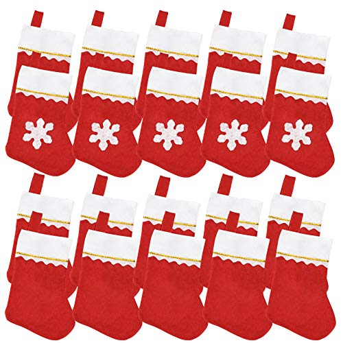 Jmkcoz 20 Pack Christmas Mini Stockings Sock Decoration Snowflake Tableware Holders, Red Felt Knife Spoon Fork Bag Candy Pouch Bag Plush Cuff Socking for Xmas Party Tree Dinner Table Home Ornaments