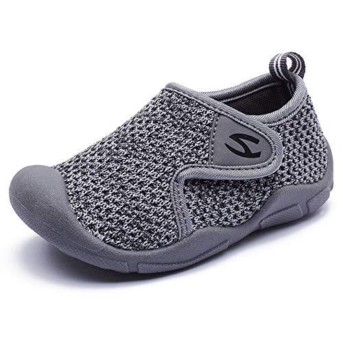GUBALUN Kinder Hallenschuhe Jungen Sneakers Atmungsaktive Sportschuhe Laufschuhe Mädchen Leichte Turnschuhe(Hellgrau,27 EU)