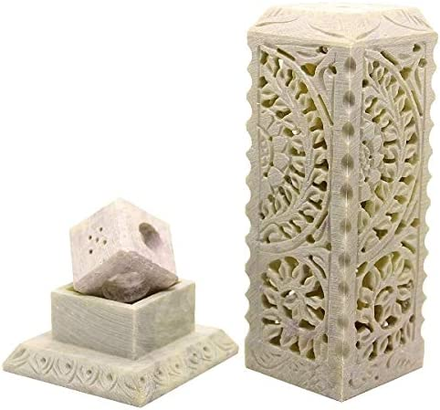 INDIAN HANDICRAFTS- Floral Carving Soapstone Marble Incense Hold