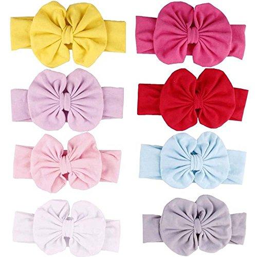 LANGING 8Pcs couleurs différentes Bandeau Cheveux élastique Florale Bébé Fille