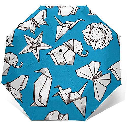 Automatischer Dreifach-Regenschirm Origami Printing Windproof Compact Automatischer Dreifach-Regenschirm