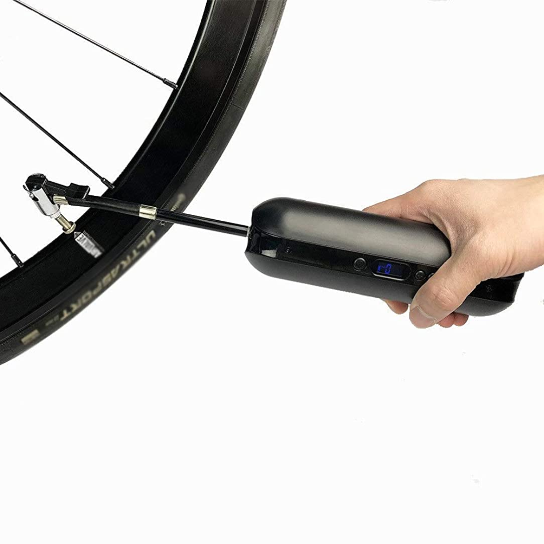 朝食を食べる物足りない行方不明自転車用ポンプ 道MTBのバイクおよび車のためのLcdの圧力dispayのUSBの充満自転車の折衷的な高圧床ポンプ 耐久性高 多機能 (色 : ブラック, サイズ : 5*5*18cm)
