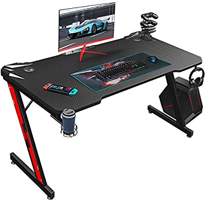 Homall Gaming Desk 43.6 inch Computer Home Office Table Desk Z Shaped PC Gaming Table Workstation with Carbon Fiber Surface Cup Holder & Headphone Hook