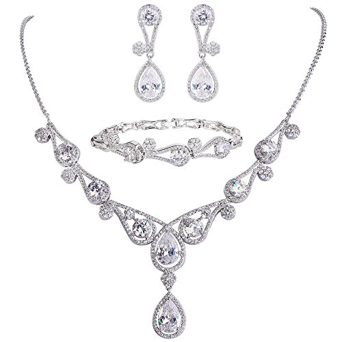 EVER FAITH Conjunto de collar y pendientes con forma de lágrima para mujer, circonita cúbica