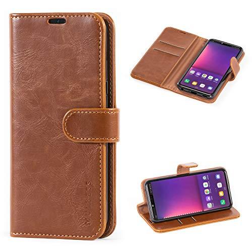 Mulbess Handyhülle für LG G8 ThinQ Hülle Leder, LG G8 ThinQ Handy Hüllen, Vintage Flip Handytasche Schutzhülle für LG G8 ThinQ Hülle, Braun