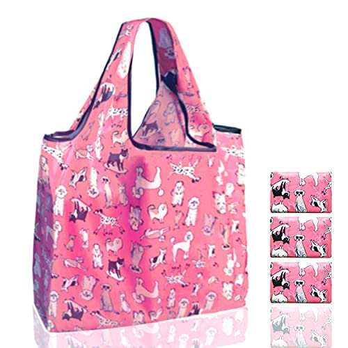 Reusable Grocery Shopping Bags Totes Washable Foldable with Handles and Pouch, Bulk, Nylon, Extra...