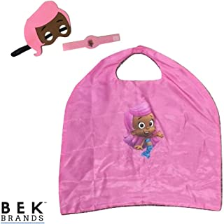 Bek Brands Bubble Guppies Kids Cape and Mask Set | Halloween Costume, Dress Up Play, Superhero Cape, Mask (Molly)