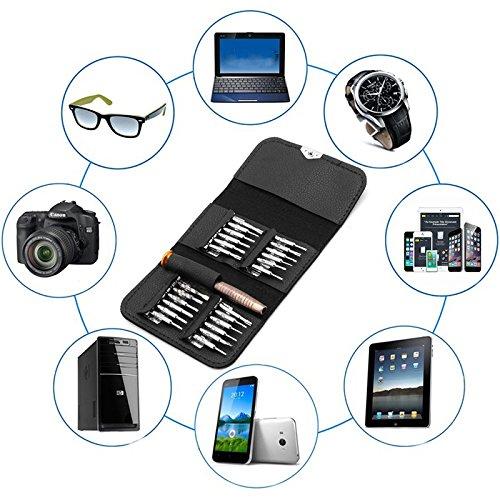 JOYKK 25 en 1 Destornillador de precisión Torx Juego de Herramientas de reparación de teléfonos celulares para iPhone Portátil - Negro + Plata