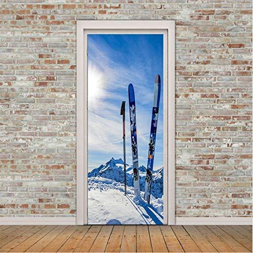 ZXL creatieve deur sticker sneeuw slee waterdichte woonkamer slaapkamer deur houder behang verwijderbare sticker muur sticker 3D