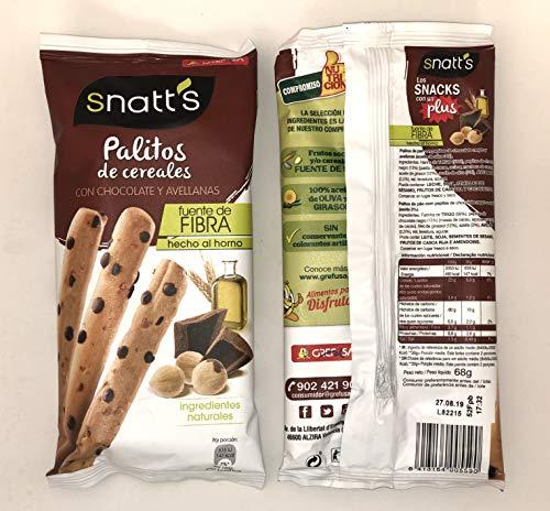 Snatt's Palitos de Cereales con Chocolate y Avellanas GREFUSA Bolsa [Pack 10 x 68 g]