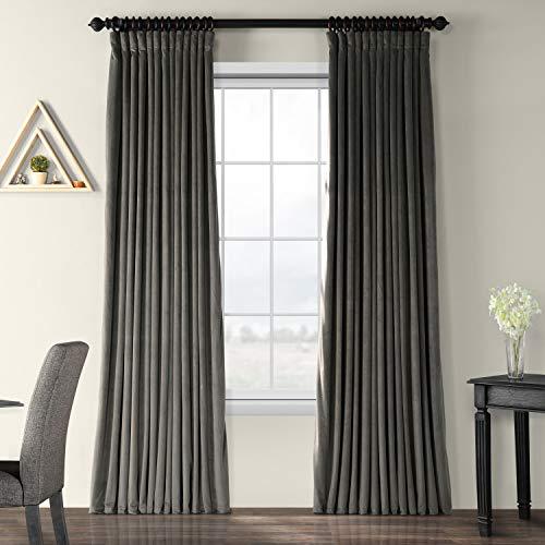 HPD Half Price Drapes VPCH-VET1220-96 Signature Extra Wide Blackout Velvet Curtain (1 Panel), 100 X 96, Gunmetal Grey