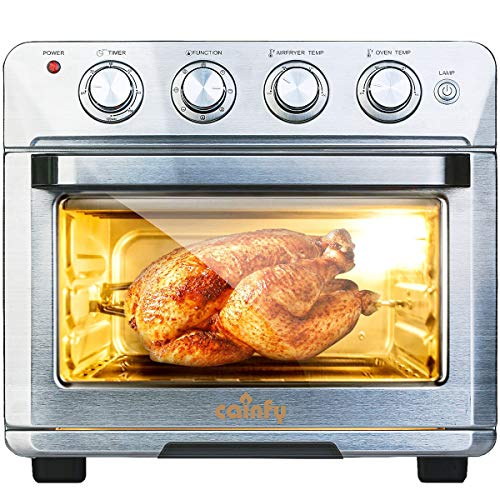 Cainfy Convection Rotisserie Toaster Oven Air Fryer 25.5 Quart Toaster Oven with Timer, Countertop Roaster Oven Temperature Control, Stainless Steel, 6 Accessories
