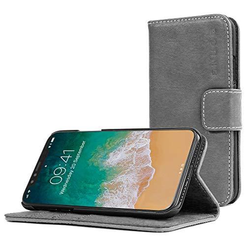 Snugg Schutzhülle für iPhone XR – Etui aus Leder mit Kartenschlitzen & Ständer – Legacy-Kollektion, Flipcase, Handyhülle in Schiefergrau