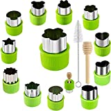 14 Pcs Fruit Vegetable Cookie Cutters Shapes Sets Stainless Steel Food Mini Pie Cookie Stamps Mold for Kids Baking,Bento Box and Decorating Tools