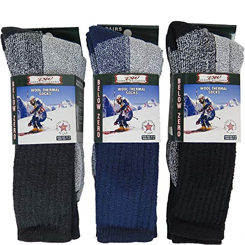 Mens Thermal Socks Heavy Extreme Cold Weather Boot Socks 6-pack By DEBRA WEITZNER, Assorted a, 10-15