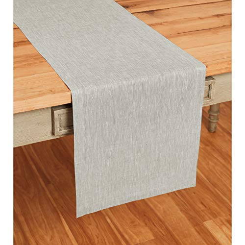 Solino Home 100% Pure Linen Table Runner – 14 x 36 Inch Athena, Handcrafted from European Flax,...