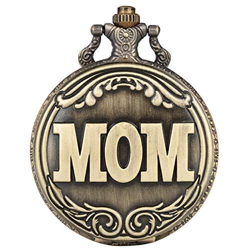 Retro Big MOM Letter Cuarzo Reloj de Bolsillo Collar Colgante Cadena Familia Top Souvenir Regalos para mamá Mamá en el día del cumpleaños de la Madre