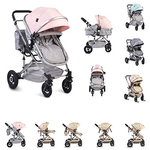 Moni Kinderwagen Ciara Tragetasche Sportsitz Wickeltasche faltbar Sitz umkehrbar, Farbe:rosa