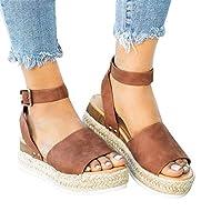 Strappy Sandals for Women Flat Wedge Open Toe Espadrille Platform Lightweight Size 41