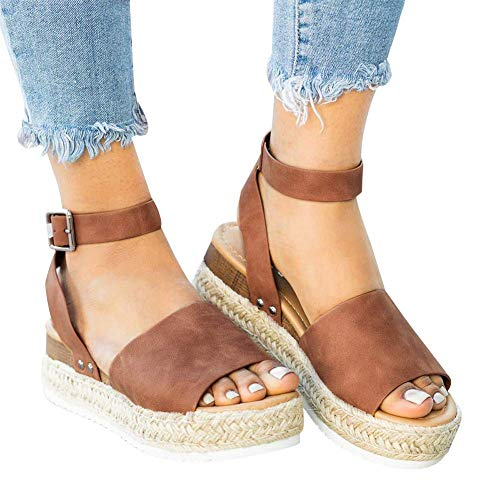 Ecolley Strappy Sandals for Women Flat Wedge Open Toe Espadrille Platform Lightweight Size 41 Brown