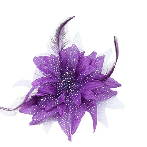 Plus Nao(プラスナオ) ヘアクリップ ヘアアクセサリー 子供用 キッズ お花 フラワーモチーフ 羽根 フェザー チュール 髪飾り 髪留め ヘアア - パープル