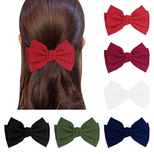 miuse 6 Stück große Haarschleifen Clip für Frauen elegante handgemachte Stoff Haarspangen Haarspangen Zubehör (rot, grün, weinrot, dunkelblau, weiß und schwarz)