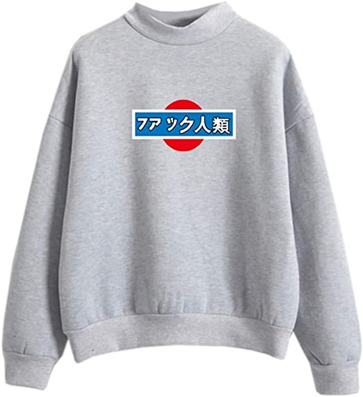 grey aesthetic sweater Japanese signs typing cool edgy