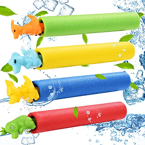 Colmanda Pistola de Agua, 4 Piezas Pistola de Agua de Espuma Pistola de Agua Niños, Pistola de Agua Coloridas Pistola de Agua para Piscina, Pistola de Agua Adultos Niños para Playa Piscina (A)