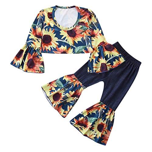 Moneycom❤Toddler Kids Baby Girls Fashion Tournesol Tops + Bell-Bottoms Pants Clothes Set Jaune(1-2 Ans)