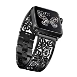 Secbolt Carved Flower Bling Bands Compatible with Apple Watch Band 42mm 44mm 45mm iWatch Series 7/6/5/4/3/2/1/SE, Stainless Steel Dressy Jewelry Diamond Bracelet Bangle Wristband Women, Black