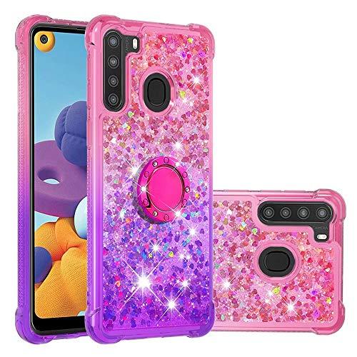 WJMWF Compatible con Funda Samsung Galaxy A21 con Anillo Quicksand Glitter Serie de Degradado de Color Suave TPU Silicona Bumper Antigolpes Caso Rosa Arriba y Púrpura Abajo