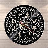 Seed of Life Lotus Wall Art Zen Ornamento Meditación Reloj de pared Relajación Yoga Focus Decoración de pared Mandala Vinilo Record Reloj de pared