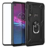 Strug for Motorola Moto One Action/Moto P40 Power Case,Hybrid Armor Heavy Duty Shockproof Protection Built-in 360 Rotatable Ring Magnetic Car Mount Case with Tempered Glass Screen Protector(Black)