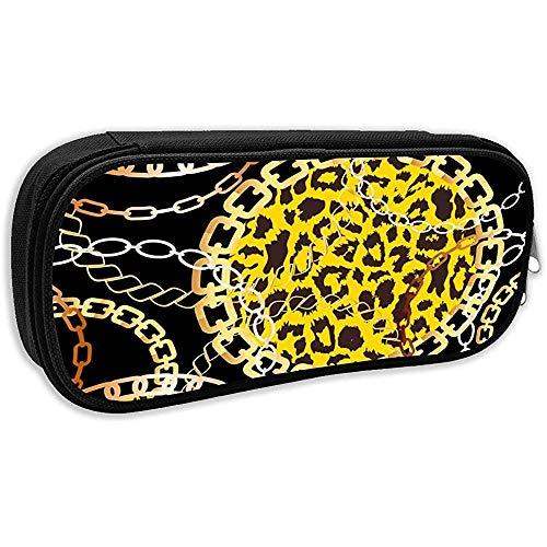 Pen Bag Pouch Cheetah Leopard Tierhaut Mit Goldenen Ketten Bleistiftetui Stationäres Etui Make-Up Kosmetiktasche