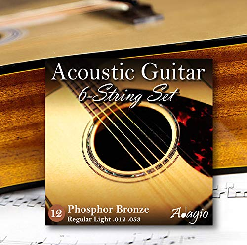 2 SETS! ADAGIO PRO Acoustic Guitar Strings Medium Light - Gauge 12-53 -...