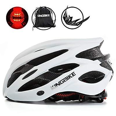 KINGBIKE Adult Bike Helmet Ultralight with Bicycle Helmets Portable Bag and Safety Rear Led Light Visor for Men Women Cycling Cycle Biking Road Bike Helmets (White, L/XL(60-63CM))