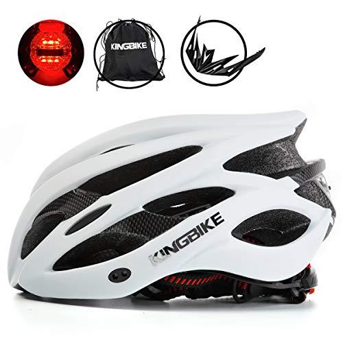 KING BIKE Fahrradhelm Helm Bike Fahrrad Radhelm mit LED Licht FüR Herren Damen Helmet Auf Die Helme Sportartikel Fahrradhelme GmbH RennräDer Mountain Schale Mountainbike MTB (Weiß, XL(59-62CM)