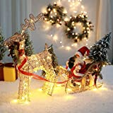 YANXS Rennes avec Père Noël Traîneau Lumineux LED Chaud Blanc Métal Cadre Bronze Fil Tissage Éclairage de Noël Déco pour Intérieur ou Extérieur